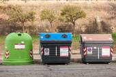 Group of sorted Recycling bins. — Stock Photo