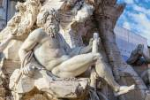 Fountain of the Four Rivers closeup at Piazza Navona, Rome, Ital — Stock Photo