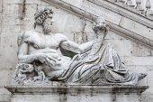 Detail of facade of Palazzo Senatorio on the Capitol hill, Rome, — Stock Photo
