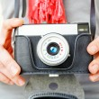 Woman photographer with old lomo camera. — Stock Photo #68104987