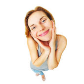 Young happy woman funny full length portrait isolated. — Stock Photo