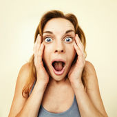 Beautiful young woman surprised. — Stock Photo