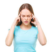 Young beautiful woman with headache isolated on white. — Stock Photo