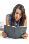 Girl teenager reading book over white background — Stock Photo