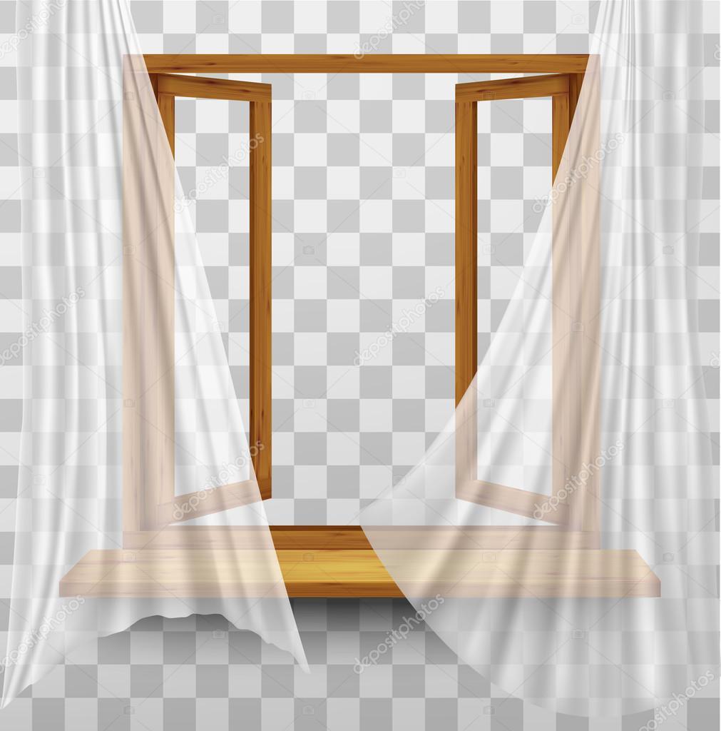 투명 한 배경에 커튼과 나무 창 프레임. V — 스톡 벡터 #123295038