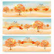 Three autumn abstract banners with colorful leaves and trees. Ve — Stock Vector
