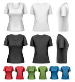 Set of colorful female t-shirts. Vector — Vector de stock