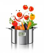 Vegetables falling into a pot. Healthy and diet food concept. Ve — Vecteur