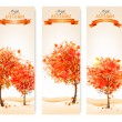 Three autumn abstract banners with colorful leaves and trees. Ve — Stock Vector #53008293