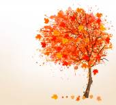 Autumn background with colorful leaves and a tree. Vector illust — Stock Vector