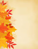 Retro autumn background with colorful leaves. Vector illustratio — Stock Vector