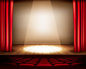 A theater stage with a red curtain, seats and a spotlight. Vecto — Stock Vector
