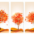 Three autumn abstract banners with colorful leaves and trees.Vec — Stock Vector #54011105
