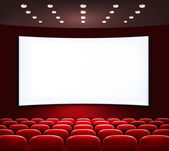 Cinema with white screen and seats. Vector. — Stock Vector