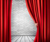 Background with red velvet curtain and hand. Vector.  — Vector de stock