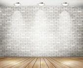 White brick room with spotlights. Vector. — Stock Vector
