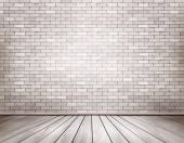 White brick room. Vector. — Vettoriale Stock
