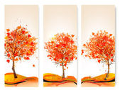 Three autumn abstract banners with colorful leaves and trees.Vec — ストックベクタ
