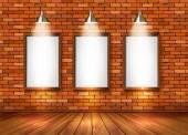 Brick show room with spotlights. Vector. — Stock Vector