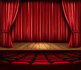 Escenario de un teatro con una cortina roja, asientos y un foco de luz. vecto — Vector de stock