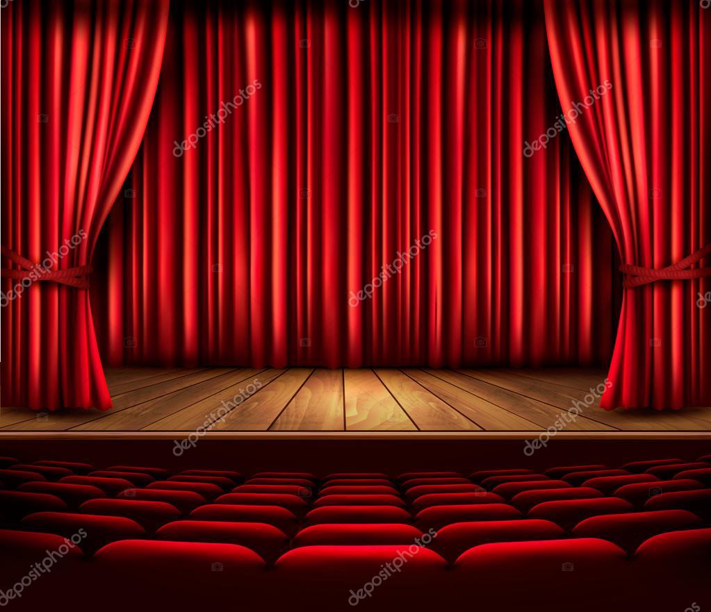 Escenario de un teatro con una cortina roja asientos y un - Cortinas para escenarios ...