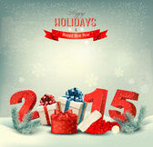 Holiday background with presents and a 2015. Vector.  — Stock Vector