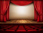 Cinema or theater scene with a curtain. Vector. — Stock Vector
