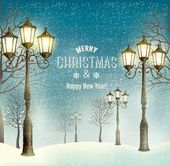Christmas evening landscape with vintage lampposts. Vector.  — Stock Vector