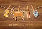 2015 with a goat on wooden background. Vector.  — Stok Vektör