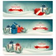Three Christmas banners with presents. Vector. — Vector de stock  #58027439