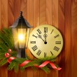 Christmas background with a lantern and a clock. Vector. — Stock Vector #58027695