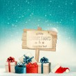 Winter christmas with a sign, gift boxes and a santa hat backgro — Stock Vector #58458155