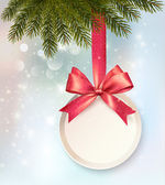 Christmas background with a label and a bow. Vector. — Cтоковый вектор