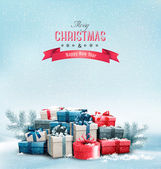 Holiday Christmas background with gift boxes. Vector.  — Stockvektor