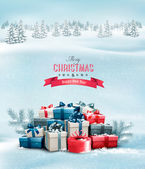 Holiday Christmas background with gift boxes. Vector. — Stock Vector