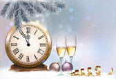 Holiday retro background with champagne glasses and clock. Happy — Stockvektor