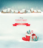 Holiday Christmas background with a village, a boot and a gift b — Vector de stock