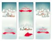 Holiday Christmas banners with villages. Vector.  — Stock Vector
