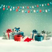 Winter christmas background with gifts and a garland. Vector.  — Stock Vector