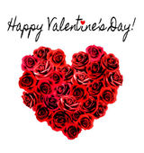 Valentines Day Background. Heart made of red roses. Vector. — Stockvektor