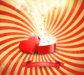 Valentine's day background with an open red gift box. Vector. — 图库矢量图片