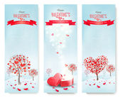 Holiday retro banners. Valentine trees with heart-shaped leaves. — Stock Vector