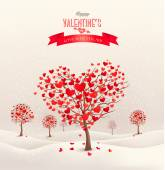 Valentine background with heart shaped trees. Vector. — Stock Vector