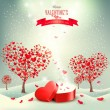 Valentine background with heart shaped trees. Vector. — Stock Vector #64109555
