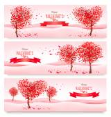 Three Holiday banners. Valentine trees with heart-shaped leaves. — ストックベクタ