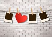Background with heart and photos. Valentine's day vector. — Stock Vector