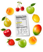 Fresh fruit with a nutrition facts label, Vector — Stock Vector