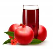 Glass of pomegranate juice with fruit. Vector.  — Stock Vector