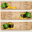 Three Saint Patrick's Day banners with lover leaves, green hat a — Stock Vector #66573119