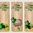 Three Saint Patrick's Day banners with lover leaves, green hat a — Stock Vector #67253039